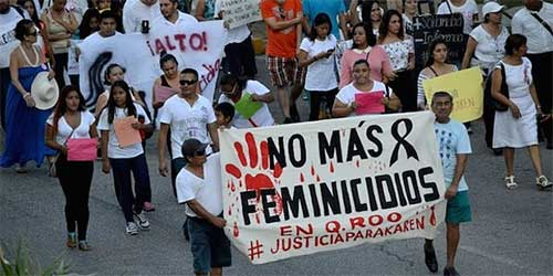 A march in Cancun by several thousand people protesting the murder of women in November. Photograph: Twitter