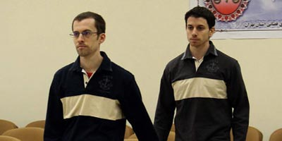 Shane Bauer and Josh Fattal in court
