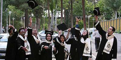 Iranian students celebrating graduation day