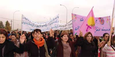 Iraqi Womens Rights activists on protest march